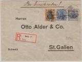 Kaiserreich; 1918, Germania, Mi.- Nr.: 87 IIa + c + 88II als MiF auf Einschreiben- Auslandsbrief von Berlin nach St. Gallen (CH)