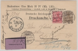 Kaiserreich; 1902, Germania, Mi.- Nr.: 54 + 56 als MiF auf Nachnahme- Drucksachen- Postkarte von Leipzig nach Augsburg