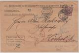 Kaiserreich; 1903, Germania, DM  Mi.- Nr.: 8 als EF auf Brief mit Post- Zustellungsurkunde von FF/M nach Höchst + zurück