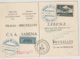 CSSR, 1937, Luftpost- Werbekarte, der Sabena gelaufen von Prag nach Brüssel (B) und zurück, nette Werbekarte rückseitig!