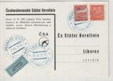 CSSR, 1937, Luftpost- Werbekarte, gelaufen via Luftpost von Prag nach Liberec, nette Werbekarte rückseitig!
