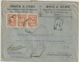 Bulgarien, 1924, 3x3 Lew als MiF auf Auslandseinschreiben von Sofia nach Aue (D)