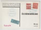 CSSR, 1937, Luftpost- Werbekarte, gelaufen von Zlin nach Brün, nette Werbekarte rückseitig!