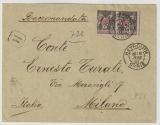 Französische Post in Syrien, 1901, 2x 1 Piaster als MeF auf Einschreiben- Auslandsbrief von Beyrouth nach Milano (I)