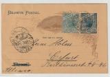 Brasilien, 1902, 50 Reis- GS + 50 Zusatzfrankatur, verwendet als Auslandspostkarte von Santos nach Erfurt (D)