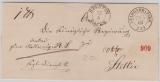 Preussen, 1863, Unfrankierter Paketbegleitbrief von Stargard nach Stettin