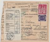 BRD / Bizone, 15 Pfg. Posthorn u. 3 Mk. Bauten als MiF auf Auslands- Paketkarte von München nach Celni Grad (CSSR)