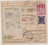 BRD / Bizone, 15 Pfg. Posthorn u. 3 Mk. Bauten als MiF auf Auslands- Paketkarte von Neumarkt nach Celni Grad (CSSR)