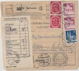 BRD / Bizone, 20 Pfg. Posthorn(2x) u. div. Bauten als MiF auf Auslands- Paketkarte von Waldsassen nach Cesk Lipy (CSSR)