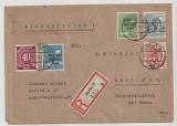 Berlin, 1948, Mi.- Nr.: SBZ 176, 185+ 189 + Bizone- Bandaudruck 12 Pfg. u.a., als MiF auf Ortseinschreiben innerhalb Berlin´s