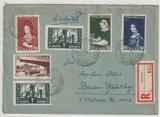 Saarland, 1956, Mi.- Nr.: 376-78 (als FDC!) + 363 + 319 (2x) als MiF auf Einschreiben- Fernbrief nach Potsdam (DDR)