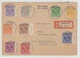 AM- Post, Mi.- Nr.: 1- 9, kpl. Satz (Amerikanische Ausgabe) als MiF auf Einschreiben- Fernbrief von München nach Freiburg
