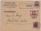 Dt. Bes. Belgien, Mi.- Nr.: 6, 7 + 8 als MiF auf Einschreiben- Fernbrief, von Brüssel nach Glashütte