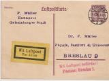15 Pfg. Flugpost, graulila, Lupo- Karten- GS, (Mi.- Nr.: P169 b ?), gelaufen von Hannover nach Breslau, per Luftpost