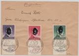 GG., 1943, Mi.- Nr.: 101- 03 als Satz- FDC auf Einschreiben- Fernbrief von Krakau nach Gera