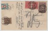 Infla, 1923, Mi.- Nr.: 206 (2x) + 208 u.a. als MiF auf Auslands- Postkarte von Hagen nach Einen ?, CH) mit Ch- Nachporto