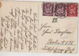 Infla, 1922, Mi.- Nr.: 212 (2x) + 213 als MiF auf Fern- Postkarte von Bad Kösen nach Berlin