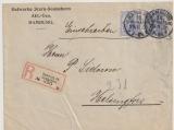 Germania, 1906, Mi.- Nr.: 87Id (2x) als MeF auf Einschreiben- Auslandsbrief von Hamburg nach Helsingfors (Finnland)