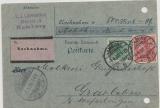 Krone + Adler / Germania- Reichspost, Mi.- Nr.: 46 + 56 als MiF auf Nachnahme- Postkarte von Hamburg nach Grasleben