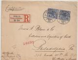 Krone + Adler, 1898, Mi.- Nr.: 48 (2x) als MeF auf Auslands- Einschreiben von Berlin nach Philadelphia (USA) Schiffspoststempel!