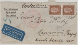 DR, 1934, Mi.- Nr.: 420 (2x) + 437 (rs.) + 549 (rs.) als MiF auf Flugpost- Auslandsbrief von Burgwedel nach Asuncion (Paraguay)