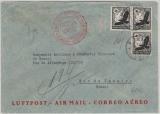 DR, 1934, Mi.- Nr.: 537 (3x) als MeF auf Flugpost- Auslandsbrief von Nürnberg nach Rio de Janeiro (Brasilien)