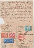 DR, 1934, Mi.- Nr.: 505 u.a. als MiF auf 6 Pfg. Hindenburg Antwort- GS gelaufen von Wilhelmshoven nach Vigo (P) und zurück