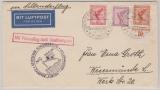 DR, 1934, Mi.- Nr.: 379 + A379 + 381 als MiF auf Katapultpost- Brief von Dampfer S. S. Europa nach Wesermünde