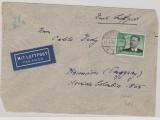 DR, 1936, Mi.- Nr.: 538 als EF auf Auslands- Luftpostbrief von Stettin nach Asuncion (Paraguay), Devisenkontrollzettel rs.!