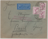 DR, 1933, Mi.- Nr.: A 379 (3x) als EF auf Auslands- Luftpostbrief von Berlin nach Basel, mit Flugbestätigungsstempel