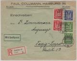 Weimar, 1925, Mi.- Nr.: 344 (2x), 345 (2x) + 346 als MiF auf Einschreiben- Flugpost- Fernbrief von Hamburg nach Danzig