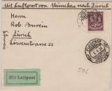 Weimar, 1924, Mi.- Nr.: 348 als EF auf Flugpost- Auslandsbrief von München nach Zürich (CH), rs. mit Eingangsstempel