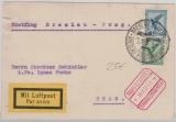 Weimar, 1927, Mi.- Nr.: 378+ 380 als MiF auf Erstflugbeleg von Breslau nach Prag, mit Flugbestätigungsstempel!