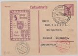 Weimar, 1927, 15 Rpfg.- Flugpost- GS (lila, Mi.: P169) als Erstflugbeleg gelaufen per Lufthansa von Berlin via Prag nach Wien