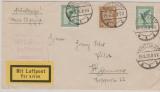 Weimar, 1926, Mi.- Nr.: 355+ 378 (2x) als MiF auf Lupo- Drucksache von Stuttgart nach Hannover, mit Flugbestätigungsstempel!