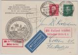 Weimar, 1929, Mi.- Nr.: 389 + 390 als MiF auf Lupo- Postkarte, von Bremen via Berlin nach Cottbus, via Luftpost