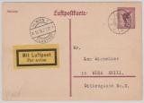 15 Pfg. Flugpost, graulila, Lupo- Karten- GS, (Mi.- Nr.: P169), gelaufen von München nach Wien, per Luftpost