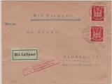 Weimar, 1925, Mi.- Nr. 345 (2x) als MeF auf Luftpost- Fernbrief, von Berlin nach Stuttgart, per Luftpost