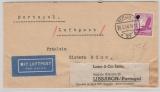 DR, 1938, Mi.- Nr.: 534, als EF auf Luftpost- Auslandsbrief, von Berlin nach Lissabon (Portugal), an Schiffspassagier!