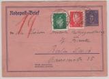 Weimar, 1929, Mi.- Nr. RU 12, + Mi.- Nr.: 413 + 412 als Zusatz (Portoerhöhung!) gelaufen innerhalb Berlin´s, per Rohrpost