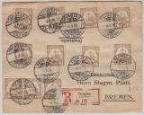 Kiautschou, 1906, Mi.- Nr.: 18 (21x), als MeF auf Drucksache- Einschreiben von Tsingtau nach Bremen