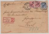 Kiautschou, 1898, Mi.- Nr.: V 3 I (2x) + V4 I als MiF auf Einschreiben- Fernbrief von Tsintau nach Kiel