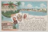 DOA / DR, 1898, Postkarte aus der Serie Deutsche Schutzgebiete, Gruß aus Dar- es- Salam, gelaufen innerhalb des DR