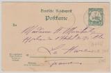 Kamerun, 1908, Antwort- GS (Frageteil) Mi.- Nr.: P10F als Karte, gelaufen von Molundi (in blau!) nach Le Havre (Fr.)