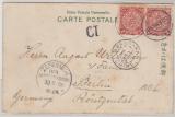 China, 1906, 2x2 Cent Coiling Dragon, als MeF auf Postkarte von Shanghai nach Berlin