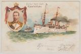 Kiautschou/ DR, 1899, DR Mi.- Nr.: 46, als EF auf  Bildpostkarte (Auf der Fahrt nach Kiautschou) von Kiel nach Spandau (Berlin)