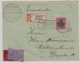 Dt. Bes. Belgien, Mi.- Nr.: 22 als EF auf Eilboten- Einschreiben von Verviers nach Dresden