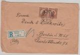 Jugoslavien, 1927, 8,5 Dinar MiF, vs. + rs. auf Einschreiben- Auslandsbrief von Belgrad nach Berlin