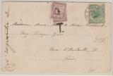 Brasilien / Frankreich, 1905, 50 Reis EF + 2x 50 Centimes Franz. Nachporto auf Bildpostkarte von Sao Paulo nach Paris