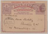 Australien, Victoria, 1897,1 1/2 Penny- Überdruck- GS (Grau- Lila), gelaufen als Auslands- postkarte, von Alexandra nach Berlin